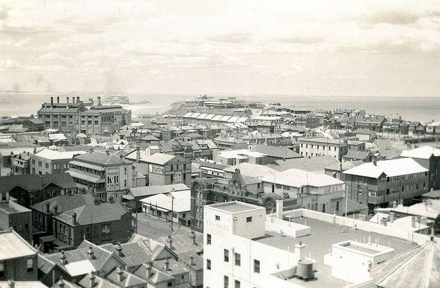 View towards Nobby's Beach from the Royal Newcastle Hospital (January 1943)   by UON Library,University of Newcastle, Australia