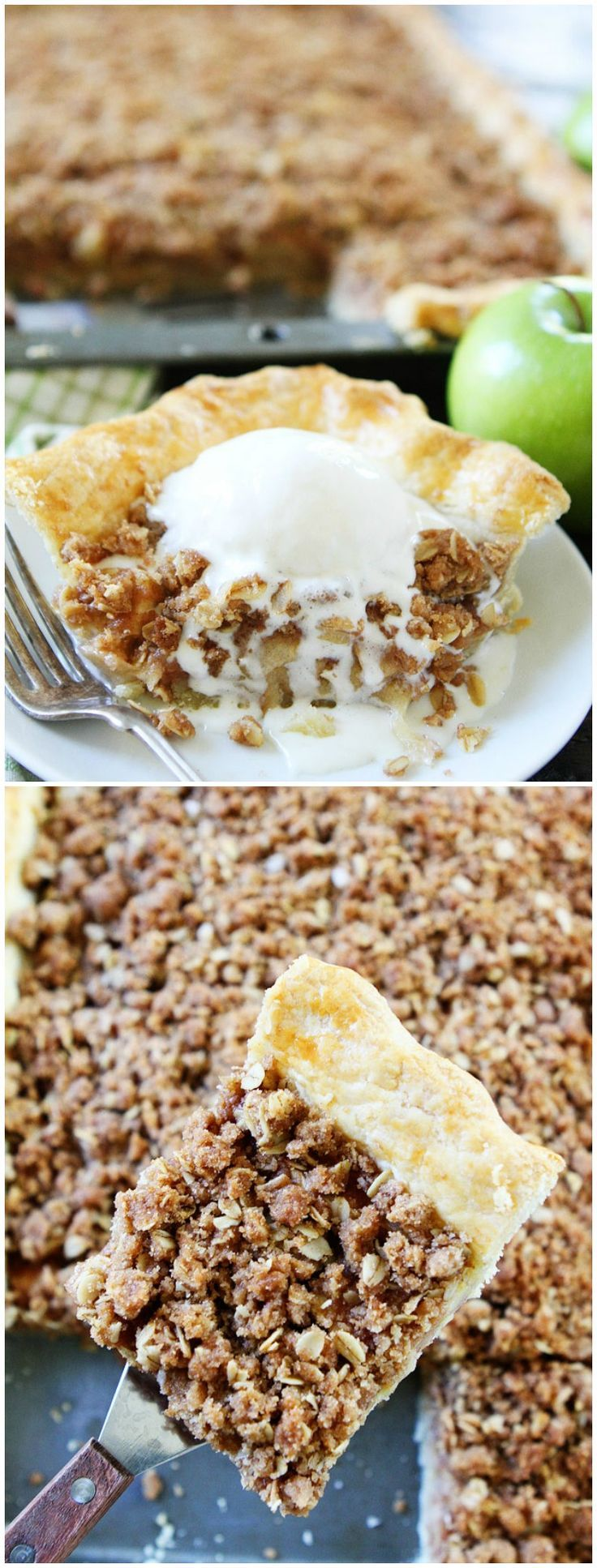 Apple Slab Pie with Crumb Topping Recipe on twopeasandtheirpod.com This is the BEST apple pie recipe and it feeds a crowd. It is the perfect dessert for the holidays!