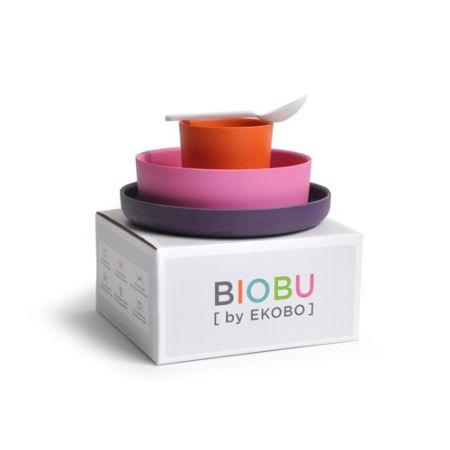 Matset i Bambufiber - Biobu by Ekobo, Rosa/Lila/orange