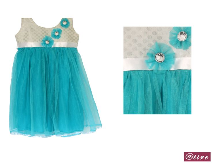 Get your baby girl this adorable dress and make her feel like a princess.This fabric ensures your baby's comfort. The round neck pattern of the dress makes it effortless to slip it onto your little one. The cute little hand made flowers on the dress makes it even more alluring. Color: Turquoise Blue Fabric : Soft Net, Brocade. Chiffon Lining, Satin Lace. Buttons