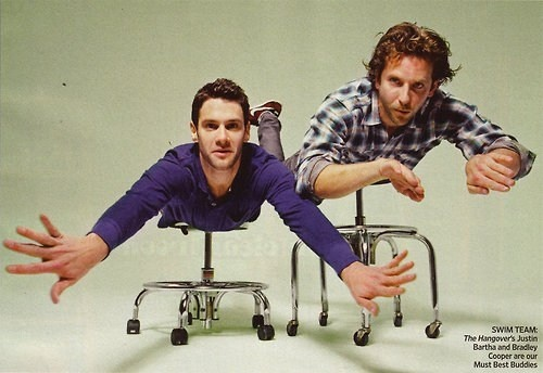 Justin Bartha and Bradley Cooper