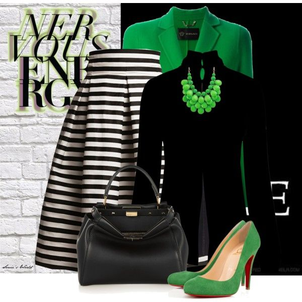 Green, Black and White by sonies-world on Polyvore featuring polyvore fashion style Temperley London Versace Rumour London Christian Louboutin Fendi white black Pumps GREEN