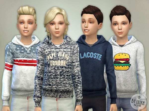Hoodie for Boys P02 by lillka at TSR via Sims 4 Updates