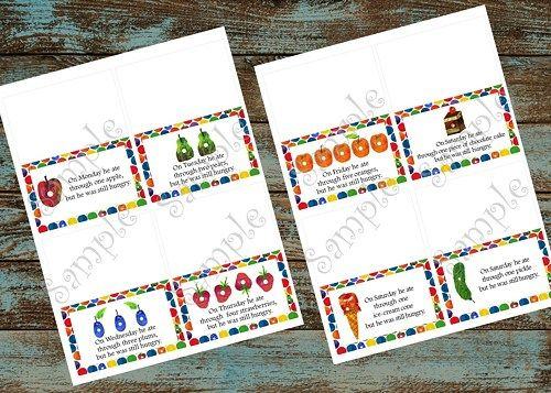Very Hungry Caterpillar Food Tent tags- Complete with each food he ate, Very hungry caterpillar Birthday party