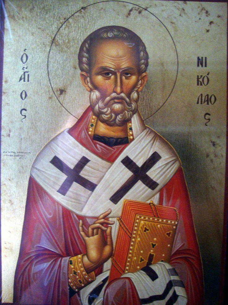 Agios Nikolaos Saint Nicolas- Greek Russian Religious Orthodox Holy Icon