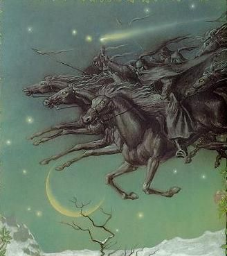 the wild hunt   At the root of the myth lies the Teutonic god Woden, or Odin, to use ...