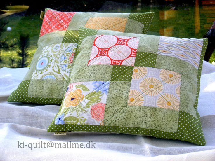 """Interior pillows """"Spring"""" - Patchwork pillows - Quilted pillows (set 2 pcs) 35x35 cm by kiquilt on Etsy"""