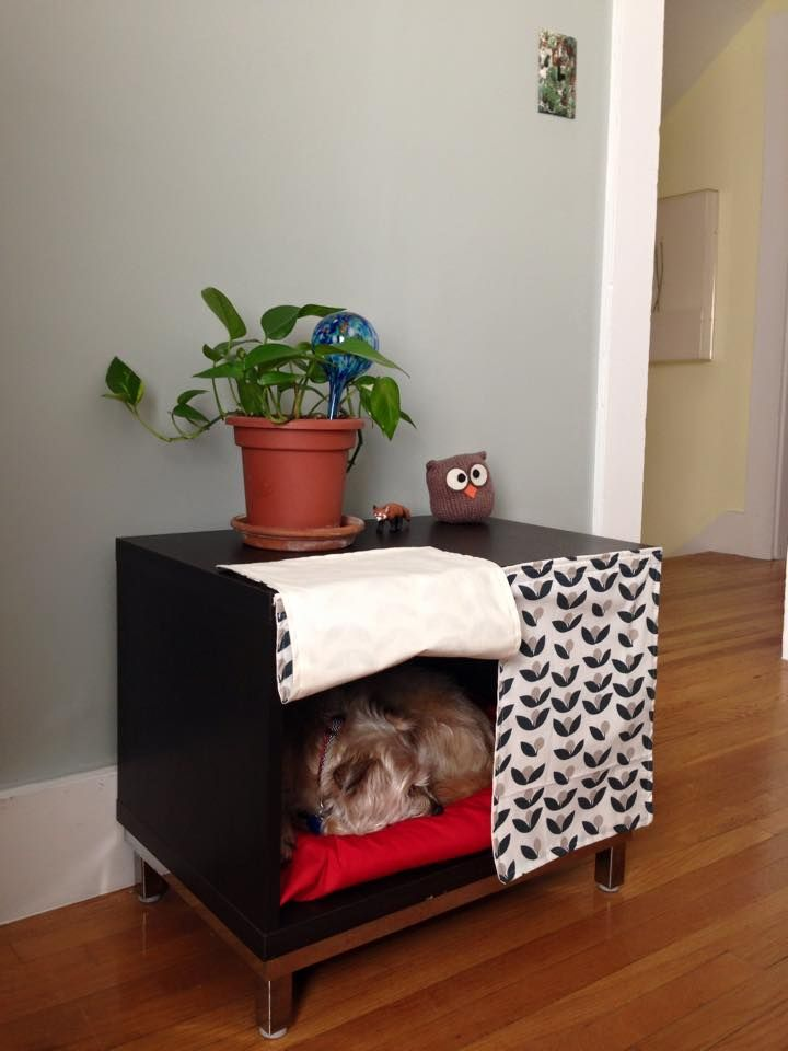 We realized that with a few changes, the BESTA television stand could be put to better use as a fancy customized dog sanctuary.