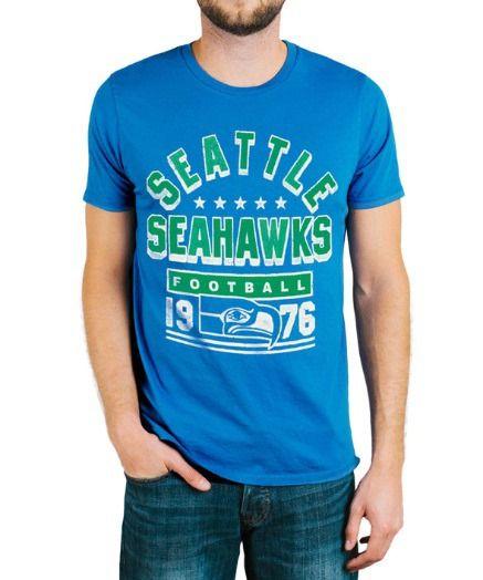 Mens Seattle Seahawks Kickoff Crew T-Shirt: This Seattle Seahawks shirt has some serious retro… #TShirts #CustomShirts #BandTees