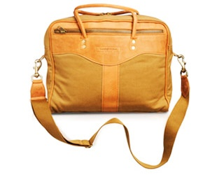 Tan Canvas Laptop Bag.      £185.00        Also available in tan pull-up leather and brown nappa leather.