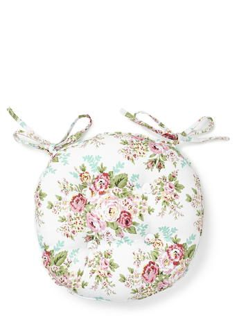 Round Floral Seat Pad, Pink