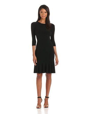 Black dress with a great flair piece. #officedress