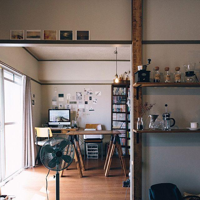 男性で、2LDKの男前/カフェ風/一人暮らし/レトロ/DIY/部屋全体…などについてのインテリア実例を紹介。(この写真は 2016-10-16 12:52:24 に共有されました)