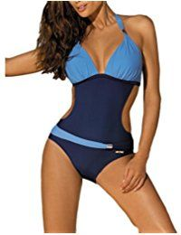 FY Femmes Ultra Sexy Maillots De Bain Une Pièce Brésilien Bikini Halter Push Up Rembourré Couleur Bloc Vacances D'Été Monokini Swimwear
