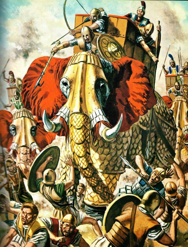Carthaginian war elephants in battle
