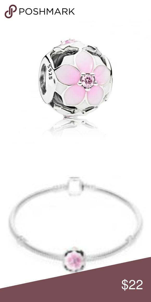 Sterling Silver Magnolia Bloom Charm This Beautiful And Stunning NEW Charm is sterling silver with white and pink enamel flower with cz stones.This charm is non threaded and will fit Pandora jewelry. Bracelet not included.  CH135 WEIGHT 1.90 Pink and white enamel flower Cz stones Non Threaded Pandora-like Jewelry