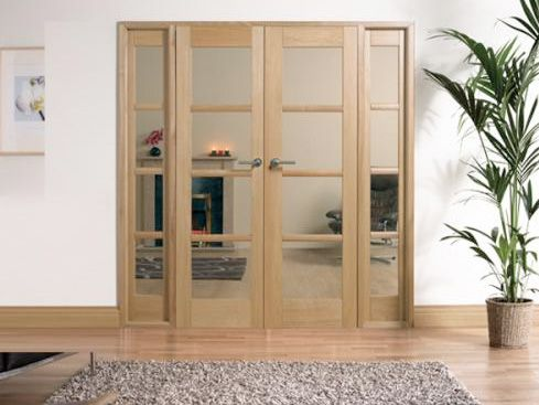 OAK Oslo Pre Finished Room Divider Range Internal French Doors With Sidelight Options Image