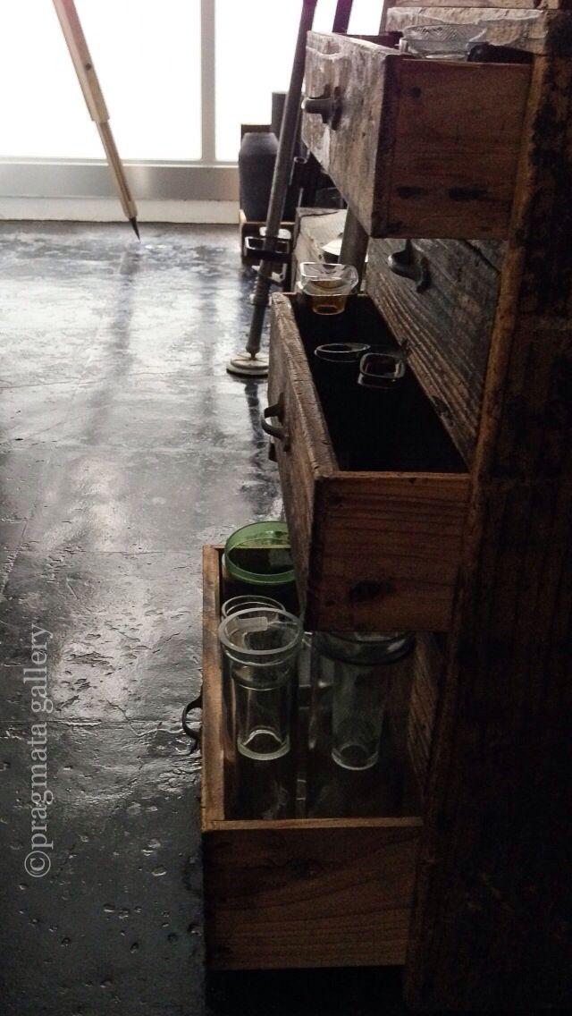 """""""Medicine cabinet"""" Recycled glass vases by Masako Kitamura.   「薬箱」 リサイクルガラス花瓶、キタムラマサコ。#pragmata"""