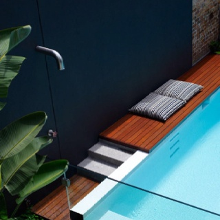 Pool, deck and contemporary landscape