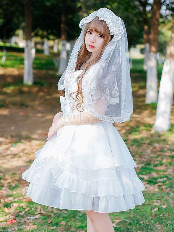 Wedding Dress Dawn And The Moon Op White Chiffon Ruffle Bow One Piece