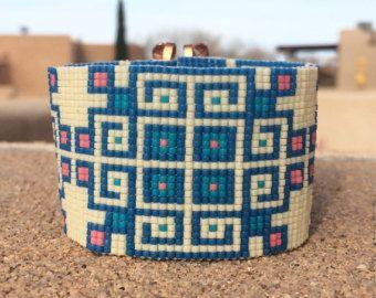 Jemez in perla blu telaio Bracciale Bohemian Boho gioielli