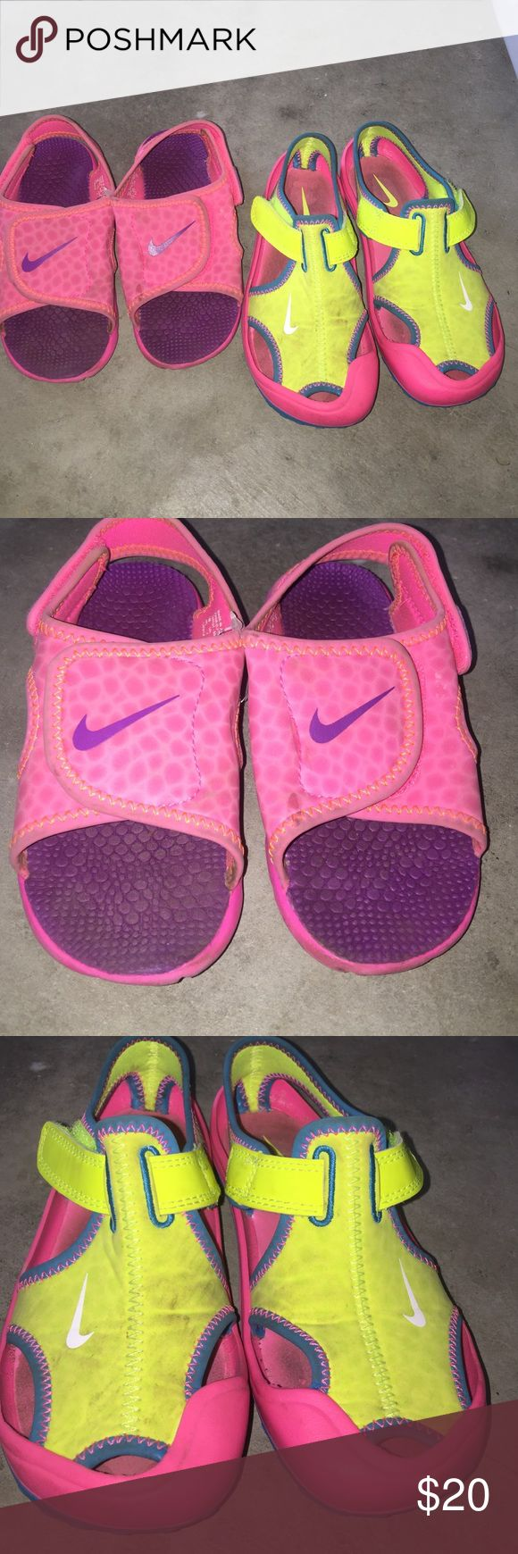 Nike water shoe lot. Pink pair are 10s. Lime pair are 12s. Both just dusty dirty no stains. Ready for a new home. Shoes Water Shoes