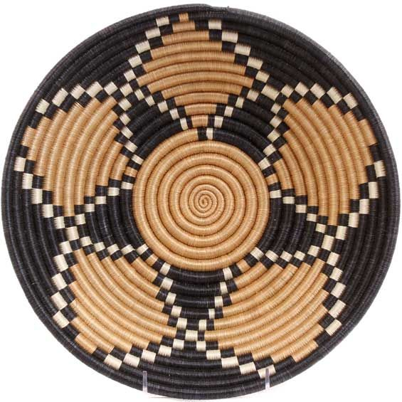 African Basket - Rwanda Sisal Coil Weave Bowl - 12 Inches Across - #56925