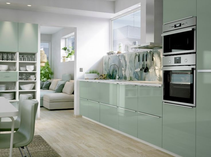 LYSEKIL + KALLARP Range IKEA mint green kitchen cupboard doors