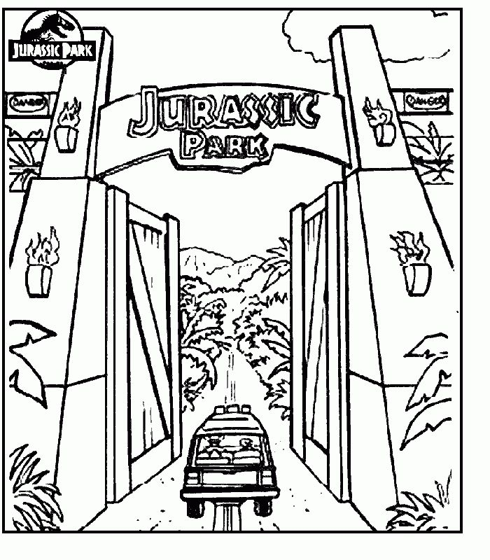 Jurassic Park Coloring Pages Com Jurassic Park Gate Jurassic Park Tattoo Jurassic Park
