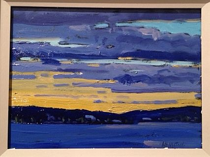 6 X 8 plein air oil painting of Sunset over Canoe Lake. www.andrewhamiltonfineart.com