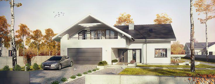 Projekt domu Orlean. Dom o powierzchni użytkowej 225,8 m2, posiadający taras i dwustanowiskowy garaż.