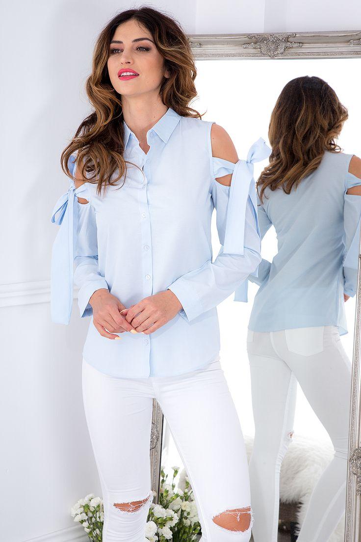 Stylowa koszula z odkrytymi ramionami 10535