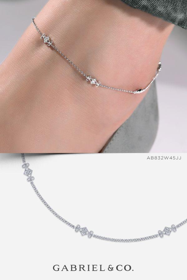 14k White Gold Fashion Ab832w45jj Ankle Bracelets In
