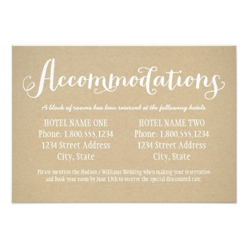 "Hotel Accommodation Card | Kraft Brown 3.5"" X 5"" Invitation Card"