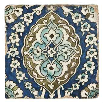 An old pottery tile from damascus estimated at £2000 by Christies.