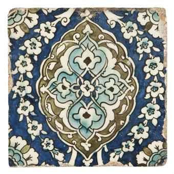 Damascus pottery tile.   Ottoman Syria, 17th century