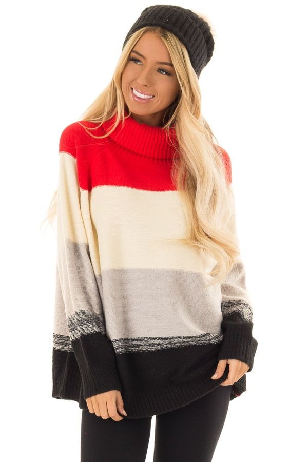 f18f7076913c76 Scarlet and Ivory Color Block Turtle Neck Sweater | Oh So Stylish ...