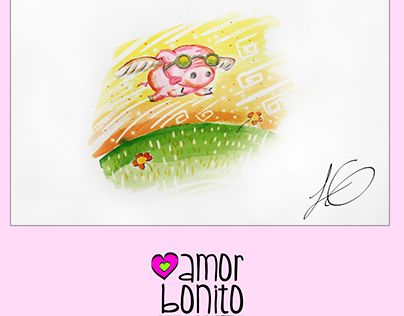 """Check out new work on my @Behance portfolio: """"Amor bonito cerdito volador"""" http://be.net/gallery/51641833/Amor-bonito-cerdito-volador"""