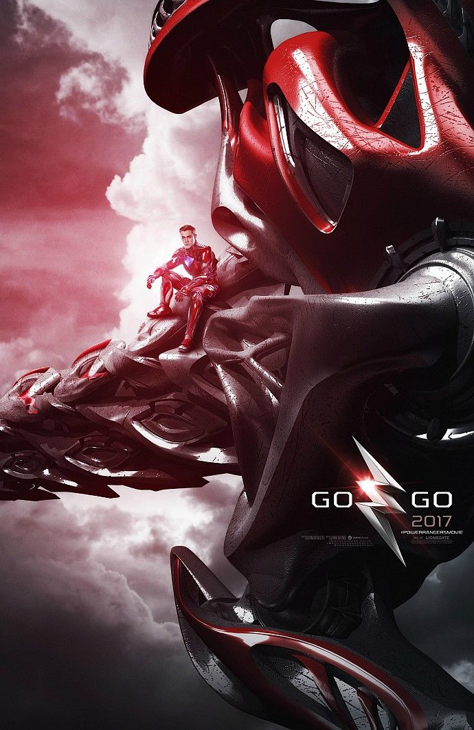power rangers 2017 movie poster red zord New Power Rangers Posters Feature the Rangers Zords