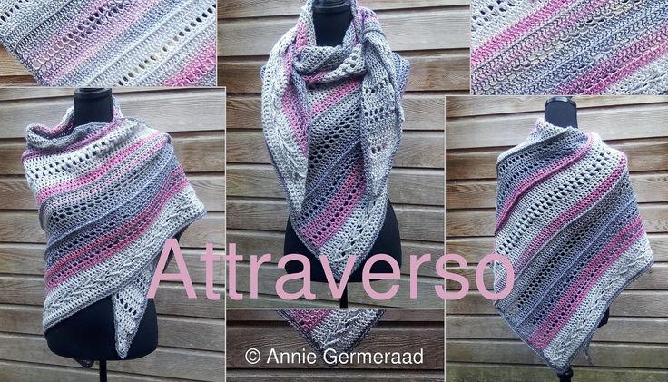 Eigen ontwerp van Annie Germeraad. Overdwars gehaakte drie hoek shawl.