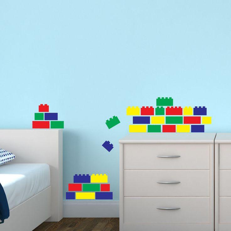 Lego bricks x 36 wall sticker pack decal transfer blocks decoration bedroom