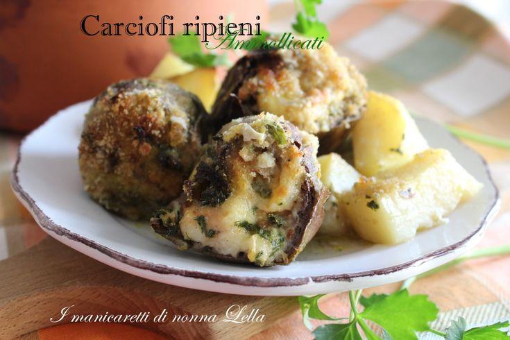 Carciofi ripieni ammollicati gustosi bocconcini di verdura con il ripeno filante e gustoso.Ricette con i carciofi. Ricette con verdure.