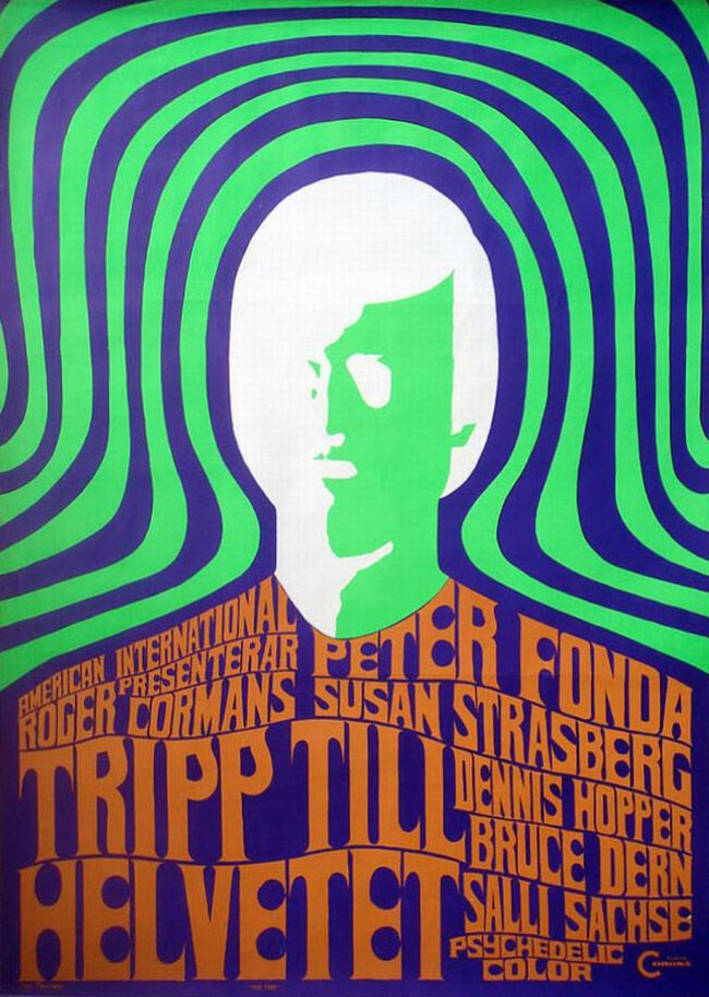 "Swedish poster artist Olle Frankzén's one-sheet design for The Trip - re-named Trip to Hell ""psychedelic color"""