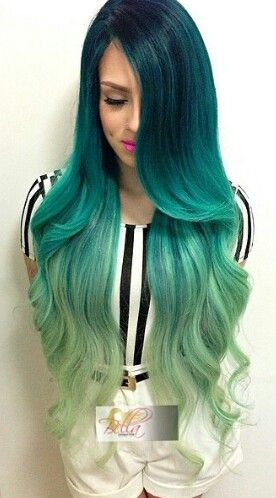 Green ombre dip dyed hair - It's so pretty WHAT?! where can I get this?
