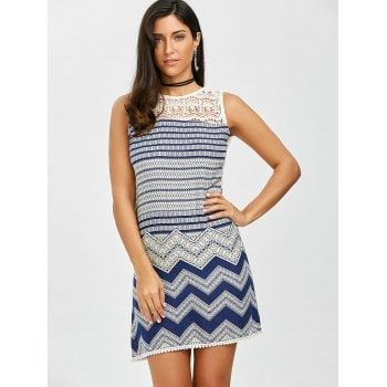 Crochet Panel Zig Zag Pattern Mini Dress - COLORMIX COLORMIX