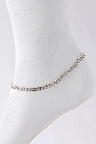 THE JEWEL RACK CRYSTAL CHAIN ANKLET (Clear/Gold)