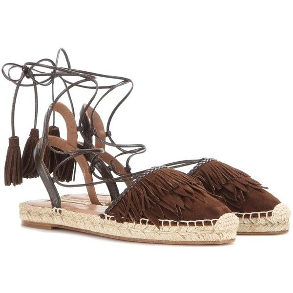 Aquazzura Pocahontas Espadrilles (2,150 CNY) ❤ liked on Polyvore featuring shoes, sandals, brown, espadrilles, brown sandals, brown shoes, espadrilles shoes, espadrille sandals and aquazzura espadrilles