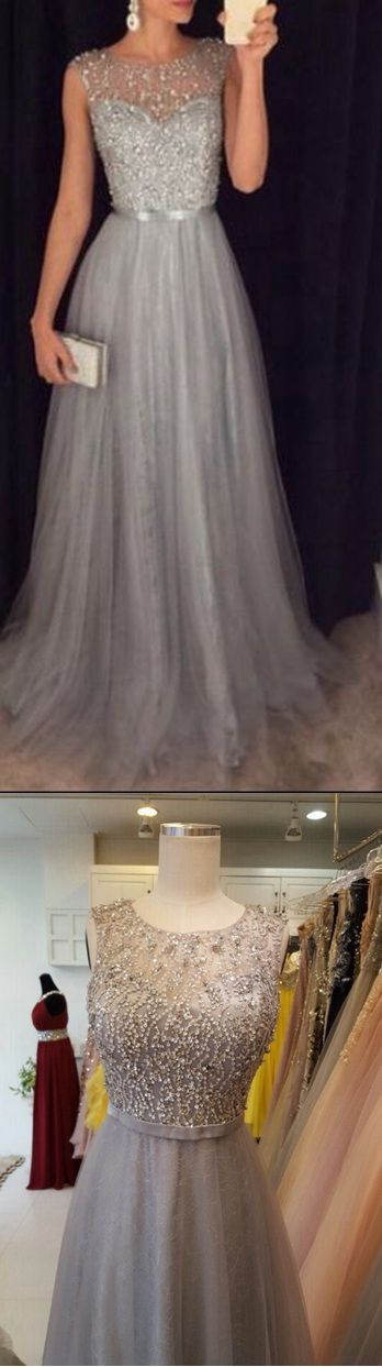 Silver Grey Prom Dress with Stones, Prom Dresses, Graduation Party Dresses, Formal Dress For Teens 0975