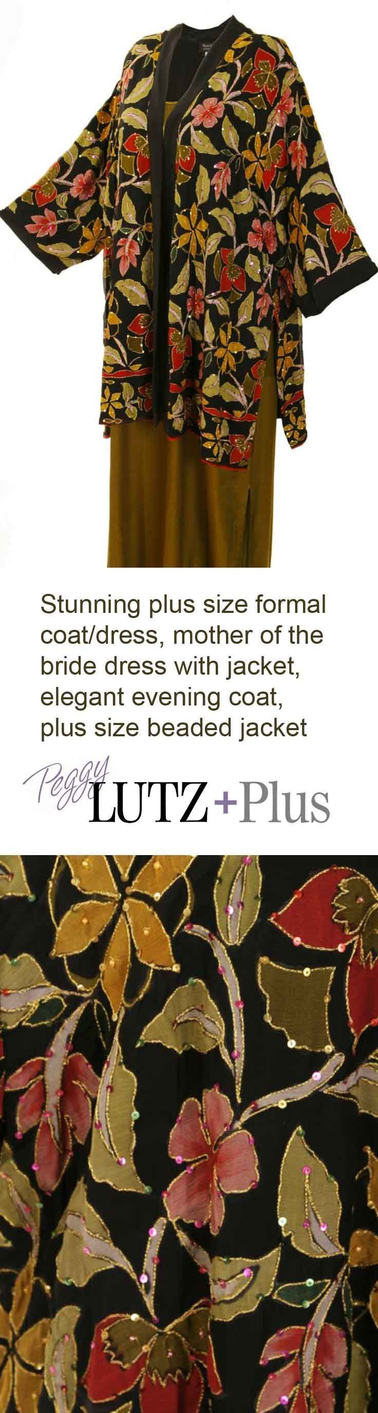 Plus Size Lined Tunic Length Kimono Jacket Naturals/Black Handpainted Beaded Floral Silk Georgette  Gorgeous plus size formal jacket is so easy to wear and feel like yourself in!  Wear it with jeans or dressy, dressy, xoPEG