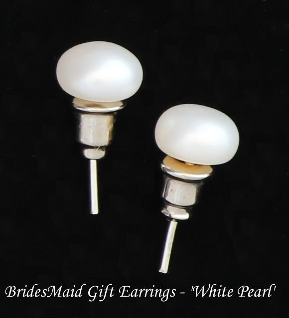 Beautiful Bridesmaid Gift Earrings in Pearl White
